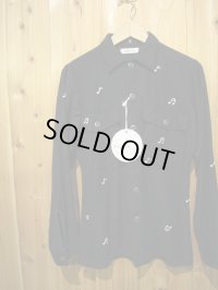 半額SALE!!\18900 → \9450!SHANANA MIL US ARMY UTILITY SHIRT (NAVY BODY WHITE EMBROIDERY)