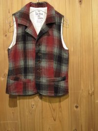 スペシャルSALE!\14700→\6900 !  La rosa de la fabrica wool check vest RED