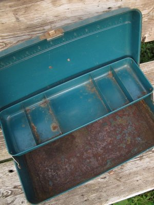画像5: USA輸入 VINTAGE ビンテージ MONGOMERY WARD HAW THORNE タックル BOX 道具箱